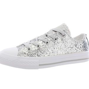 Converse All Star silver glitter sneakers size 7